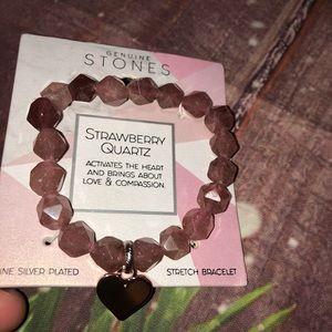 Jewelry - 🆕 Strawberry Quartz Stretchy 💛 Charm Bracelet